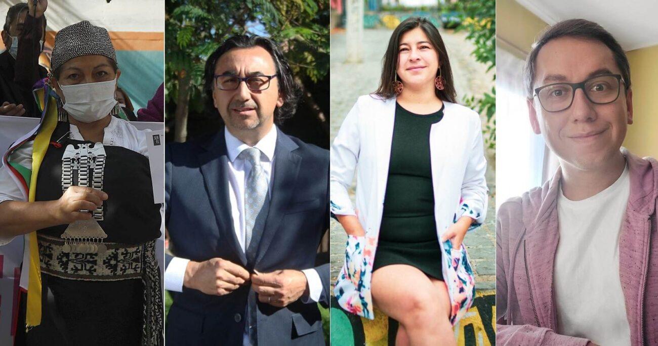 Elisa Loncon, Luciano Silva, María José Oyarzún y Javier Fuchslocher. AGENCIA UNO/TWITTER/ARCHIVO
