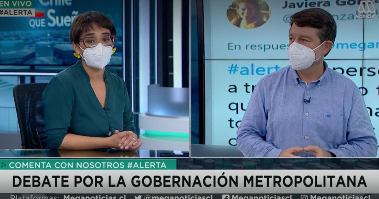 Karina Oliva y Claudio Orrego se enfrentaron en un debate en Meganoticias Alerta.