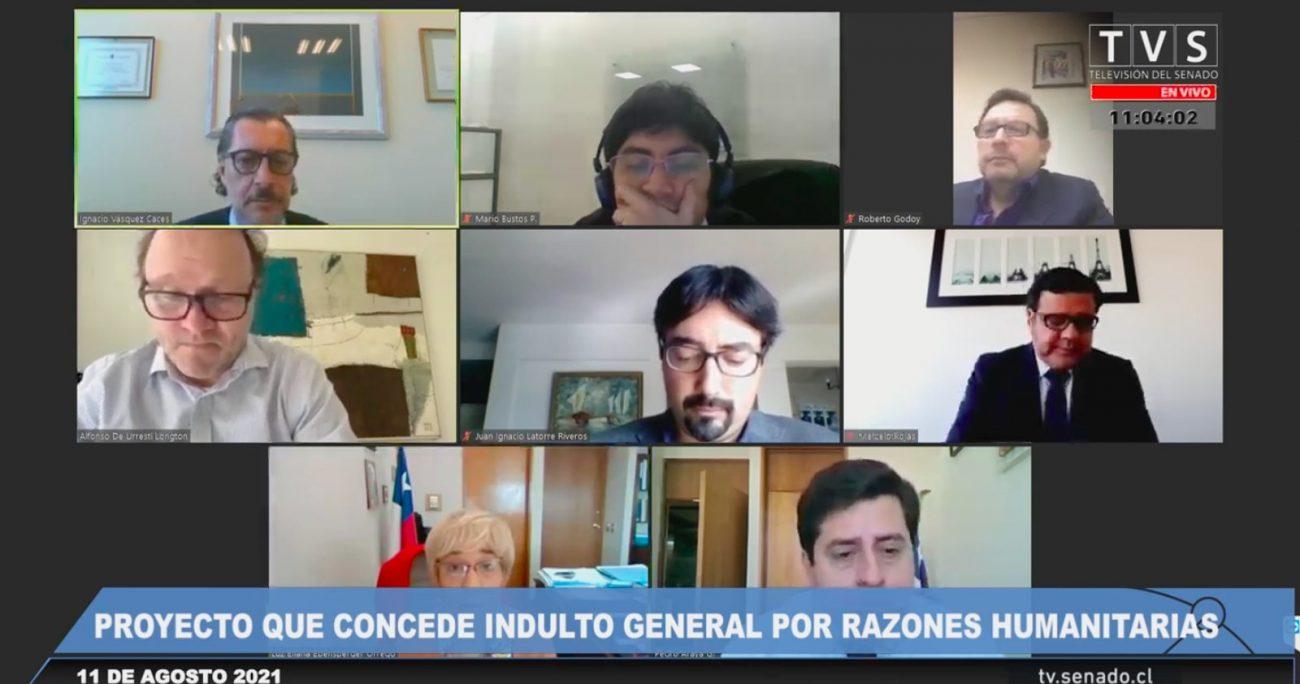 Los senadores durante la sesión de la comisión. CAPTURA DE PANTALLA/AGENCIA UNO