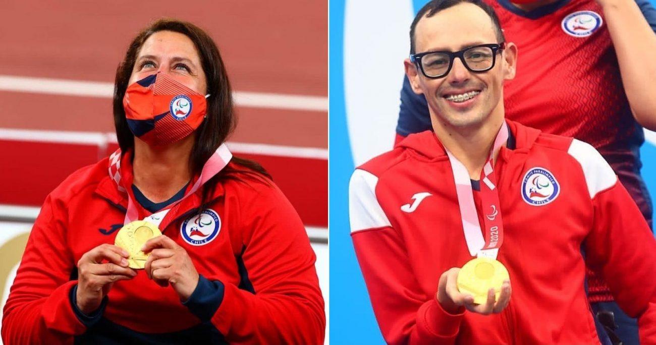 Los abanderados con sus medallas de oro. MINDEP/ARCHIVO