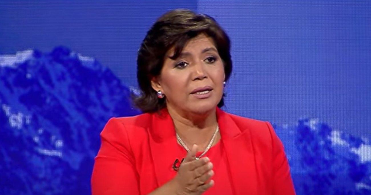La candidata durante el debate de TVN, Canal 13 y Mega. CAPTURA